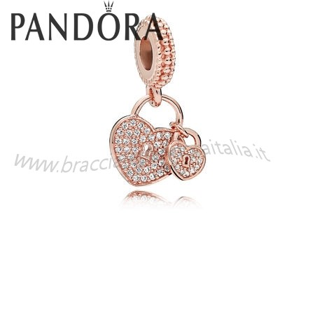 Pandora Gioielli Scontati Amore Locks Dangle Charm Rose Chiaro