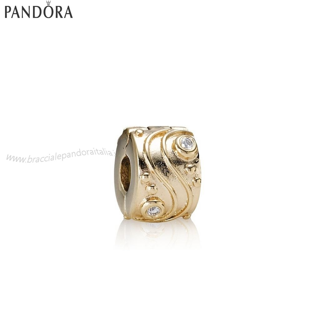 Pandora Gioielli Scontati Babbling Ruscello Abstract Gold Clip Diamonds