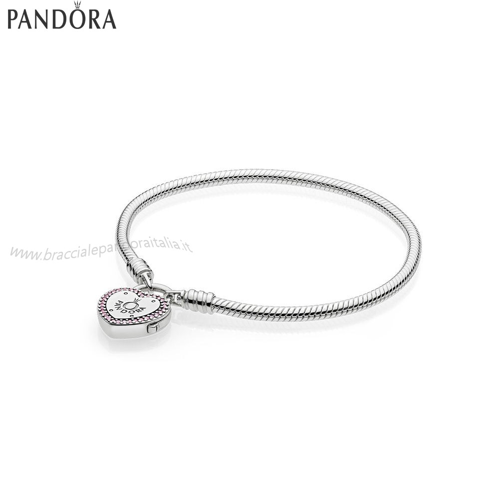 Pandora Gioielli Scontati Lock Your Promise Bracelet Fancy Fuchsia Pink Clear